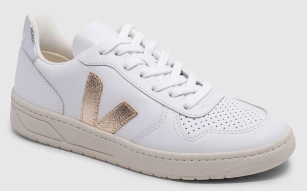 Veja V-10 Leather - white-platine-silver