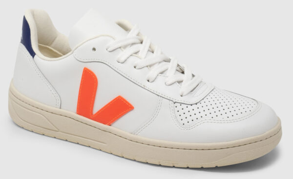 Veja V-10 Leather - orange-cobalt