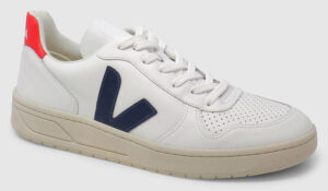 Veja V-10 Leather - white-navy-red