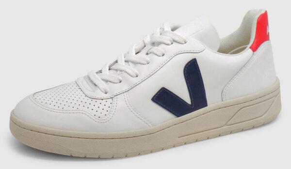 Veja V-10 Leather - white-navy-red