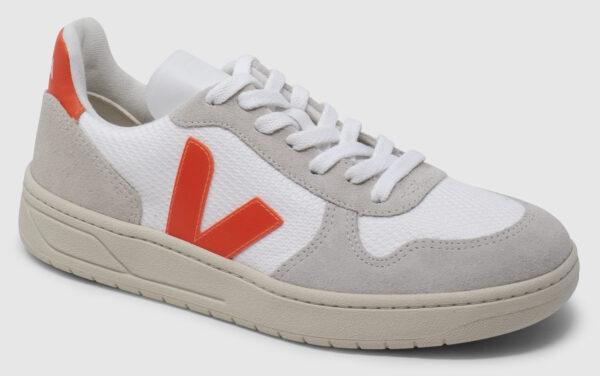 Veja V-10 Suede-Mesh - white-natural-orange