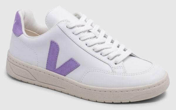 Veja V-12 Leather - white-lavende